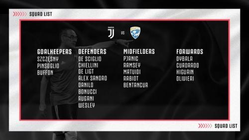Skuad Juventus vs Brescia (Foto: Twitter/@juventusfcen)