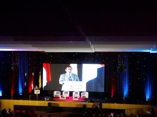 Menko Polhukam Mahfud MD di UI (foto: Okezone/Wahyu M)