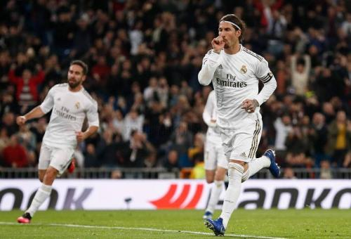 Selebrasi Ramos usai cetak gol ke gawang Celta