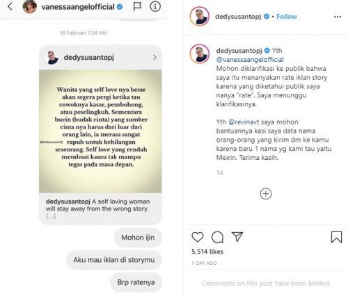 Vanessa Angel tantang Dedy Susanto. (Foto: Instagram/@vanessaangelofficial)
