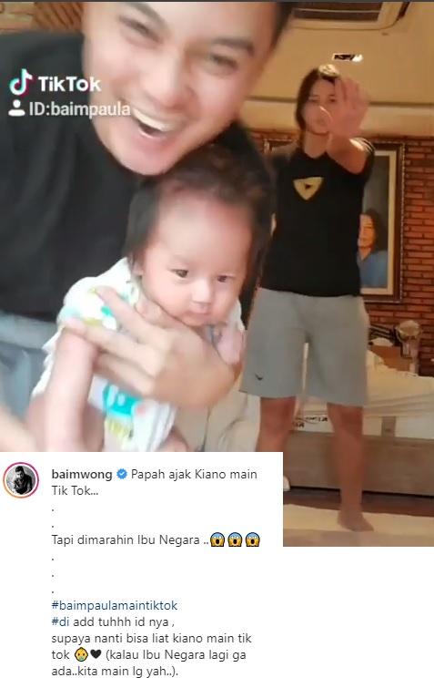 Baim Wong main Tik Tok dengan Kiano. (Foto: Instagram/@baimwong)