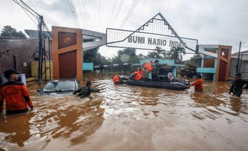Perumahan Bumi Nasio Indah Bekasi Kebanjiran (foto: Okezone/Wisnu Y)