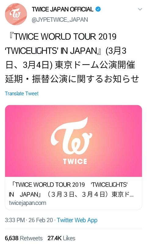 TWICE undur konser di Jepang. (Foto: Twitter/@JYPETWICE_JAPAN)