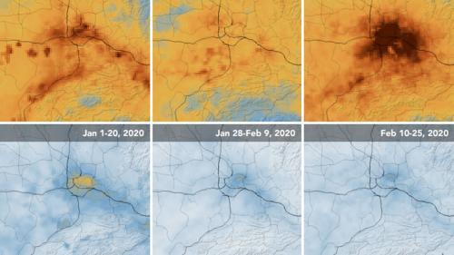 dalam polutan udara, khususnya nitrogen dioksida (NO2) di daerah besar di China.
