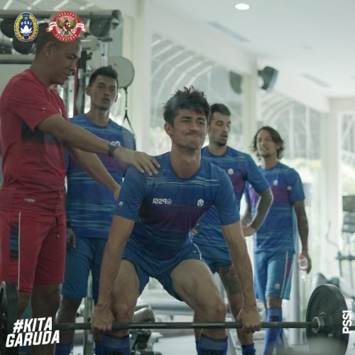 Timnas Indonesia saat di sesi latihan
