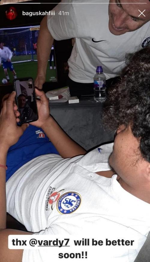 Amiruddin Bagus Kahfi saat menerima video call dari Jamie Vardy
