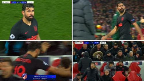 Momen Diego Costa ngamuk saat digantikan di laga Liverpool vs Atletico
