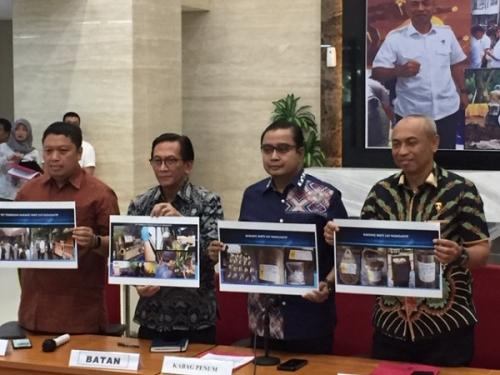 Bareskrim Polri konferensi pers kepemilikan zat radioaktif ilegal di Perumahan Batan Indah, Tangsel, Jumat (13/3/2020). (Foto : Okezone.com/Harits Tryan Akhmad)