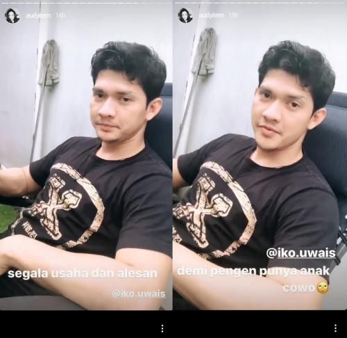 Cara lucu Iko Uwais membujuk Audy Item untuk memiliki anak laki-laki. (Foto: Instagram/@audyitem)