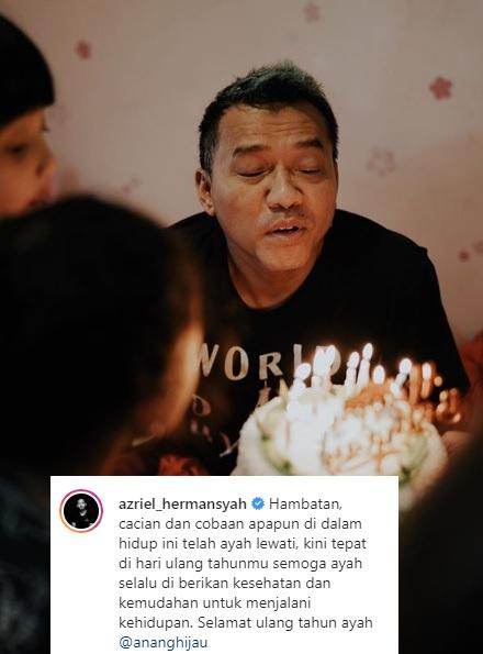 Pesan Azriel untuk Anang yang berulang tahun. (Foto: Instagram/@azriel_hermansyah)