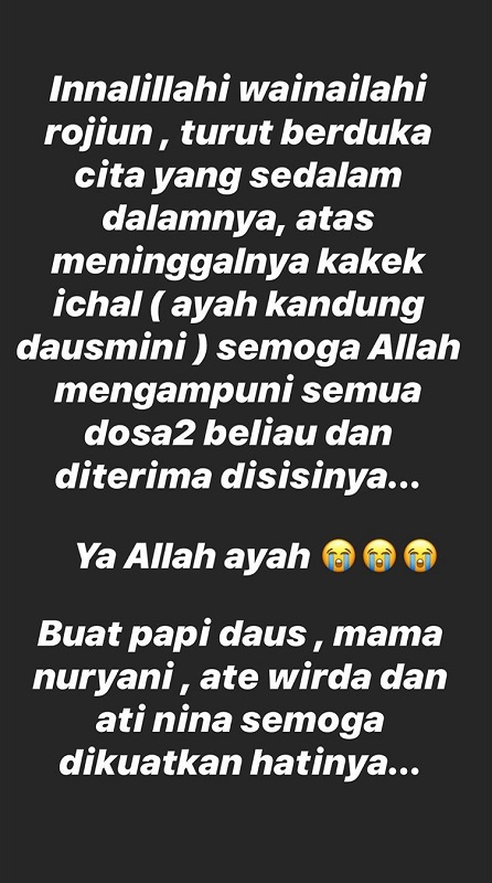 Ayah Daus Mini meninggal dunia. (Foto: Instagram/@lee_yunita)