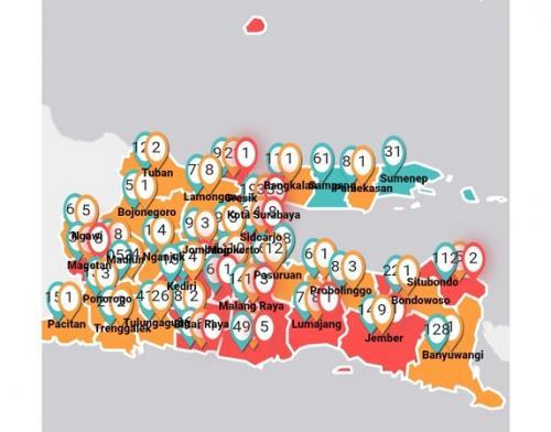Sebaran virus corona di Jawa Timur
