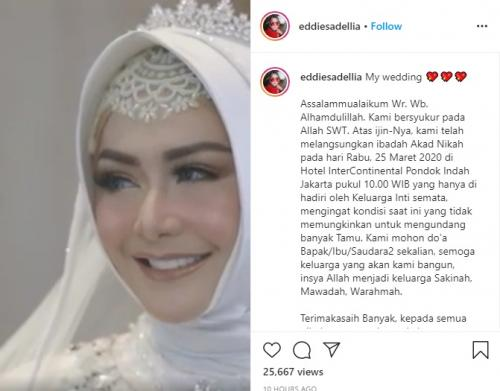 Eddies Adelia menikah kembali. (Foto: Instagram/@eddoesadellia)