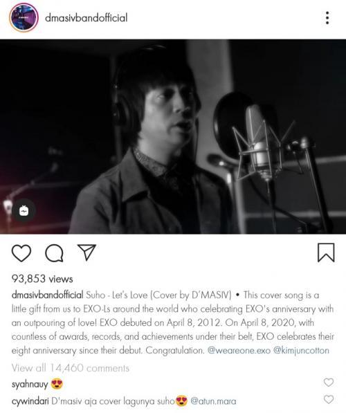 D'Masiv cover lagu Let's Love milik Suho. (Foto: Instagram/@dmasivbandofficial)