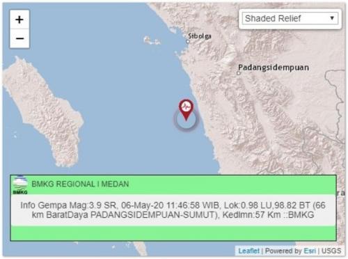 Gempa Padang Sidempuan, Sumatera Utara. (Foto: BMKG)