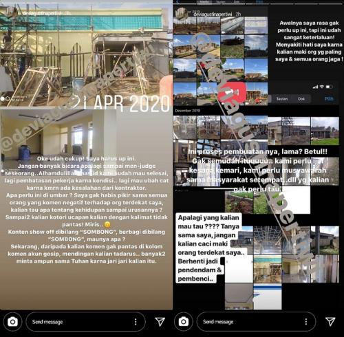 Penjelasan manajemen Atta Halilintar soal nazar masjid. (Foto: Instagram/@deviagustinapertiwi)