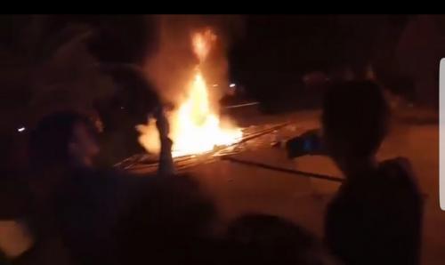 Posko Covid-19 di Desa Airbatu, Renah Pembarap, Merangin, Jambi, terbakar. (Nanang Fahrurozi)