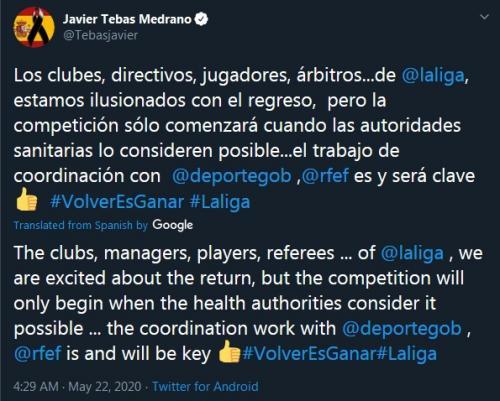 Javier Tebas (Foto: Twitter/@Tebasjavier)