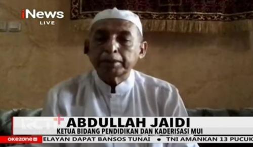 Ketua Bidang Pendidikan dan Kaderisasi MUI, Abdullah Jaidi. (Tangkapan layar tayangan iNews TV)