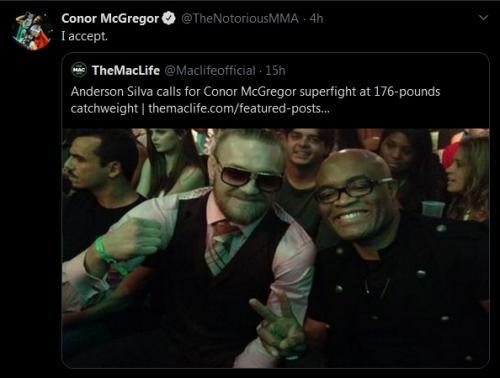 Conor McGregor jawab tantangan Anderson Silva (Foto: Twitter/@TheNotoriousMMA)