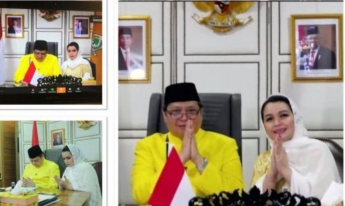 Airlangga menggelar silaturahmi virtual dengan petinggi Golkar (Foto : DPP Partai Golkar)