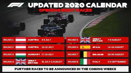 Jadwal terbaru F1 2020