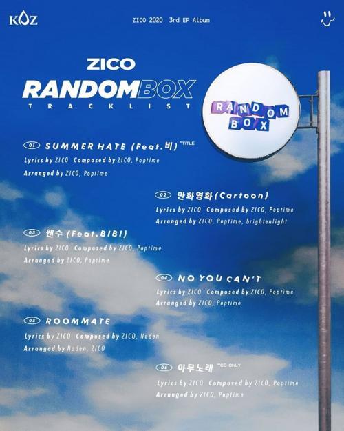 List track mini album ketiga Zico, 'Random Box'.