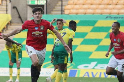 Harry Maguire vs Norwich City (Foto: Twitter/@ManUtd)