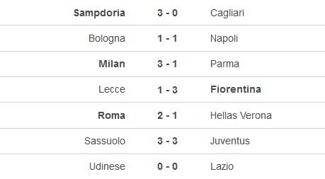 Hasil pertandingan pekan ke-33 Liga Italia 2019-2020, Kamis 16 Juli (Foto: Soccerway)