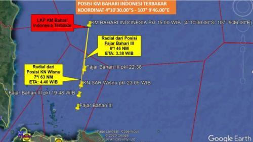 Lokasi kapal Bahari Indonesia terbakar foto: Basarnas