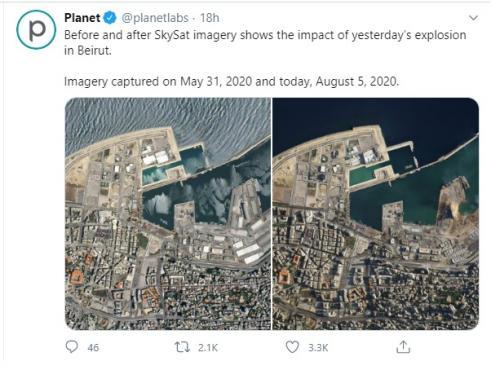 Satelit pencitraan Bumi di luar angkasa berhasil menangkap penampakan kota Beirut.