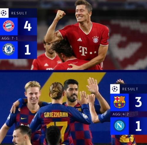 Hasil akhir leg kedua babak 16 besar Liga Champions 2019-2020 (Foto: Twitter/@ChampionsLeague)