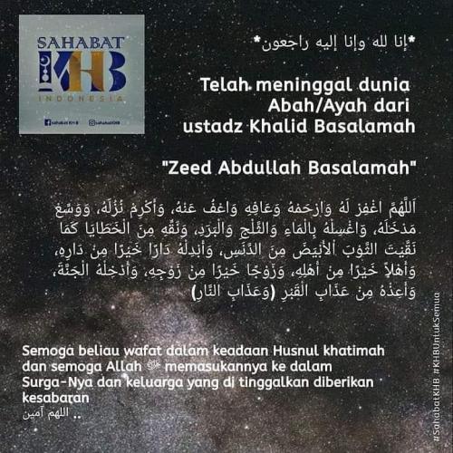 Ustadz Zeed Abdullah Basalamah, ayah Ustadz Khalid Basalamah, meninggal dunia. (Foto: Istimewa/Twitter)