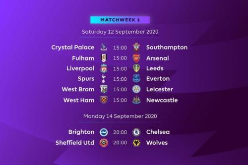 Jadwal pekan perdana Liga Inggris 2020-2021 (Foto: Premier League)