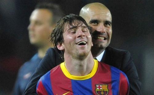 Guardiola dan Messi saat masih bekerja sama di Barcelona
