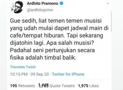 Ardhito Pramono. (Foto: Twitter/@ardhitoprmn)