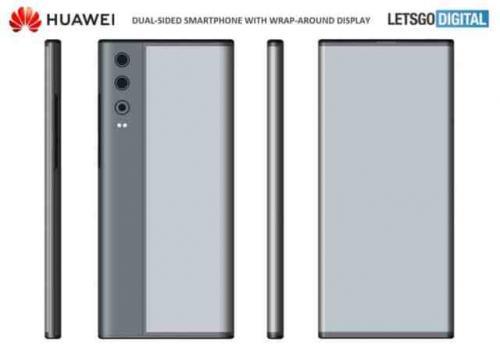 Smartphone Huawei dengan balutan layar di sisinya. (Foto: Lets Go Digital/Android Headlines)