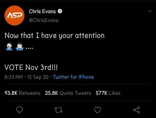 Chris Evans. (Foto: Twitter/@ChrisEvans)