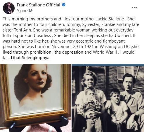 Ibu Sylvester Stallone meninggal dunia.