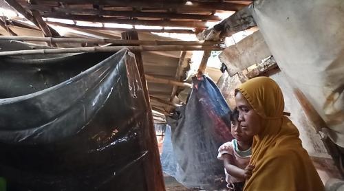Nuraini bersama 3 anaknya dan seorang cucunya tinggal di gubuk reyot. (Hambali)