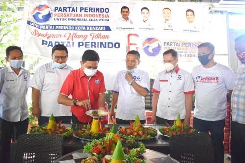 HUT Ke-6 Partai Perindo, DPW Sultra Gelar Syukuran Sederhana. (Subhan Sabu)