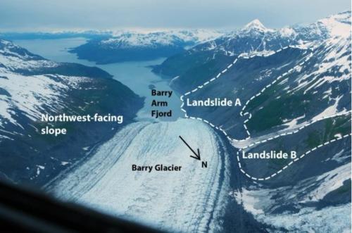 Potensi mega-tsunami di Alaska. (Foto: Handout NASA / Operation Icebridge / EPA / The Guardian)