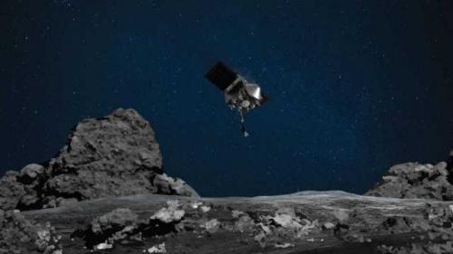 Ilustrasi pesawat OSIRIS-REx mendarat di Asteroid Bennu. (Foto: NASA/Goddard/University of Arizona/Fox News)