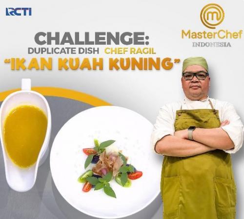 Tantangan papeda ikan kuah kuning Chef Ragil. (Foto: Instagram @masterchefina)