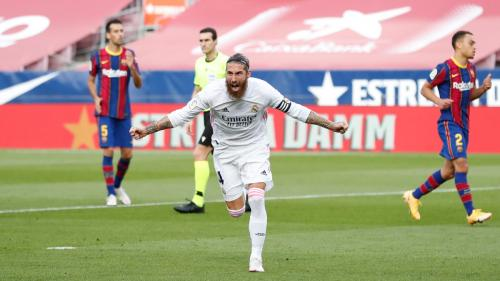 Selebrasi Sergio Ramos usai cetak gol di laga Barcelona vs Real Madrid