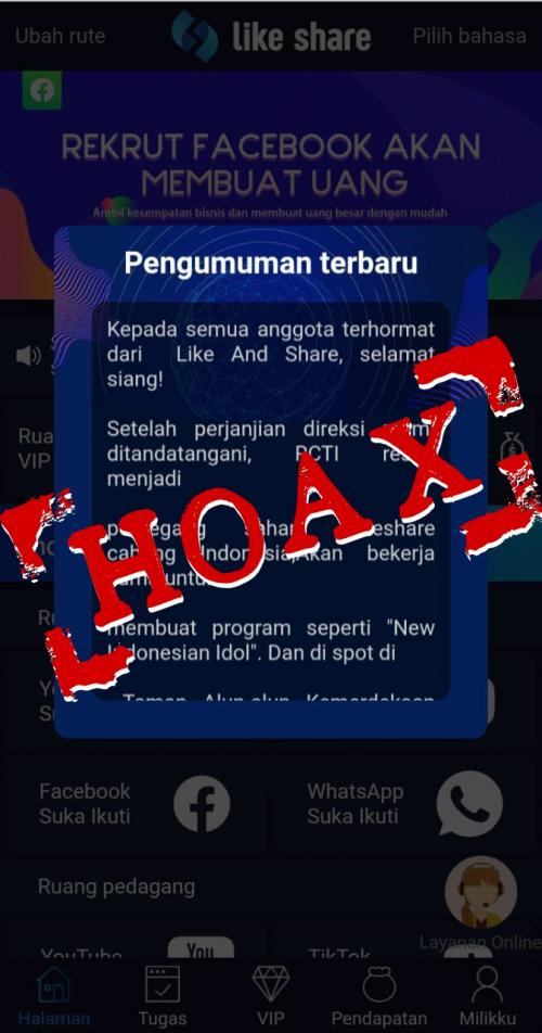 Hoax Like and Share RCTI.