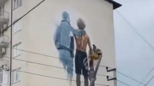 Mural Khabib Nurmagomedov dan sang ayah