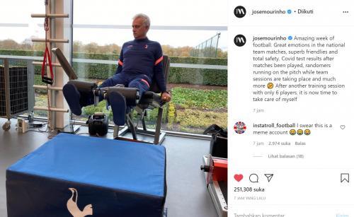 Jose Mourinho memposting sindiran terkait banyakanya pemain yang cedera dan positif Covid-19 di jeda internasional
