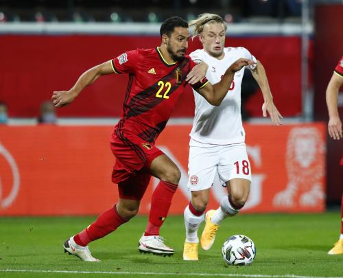 Suasana laga Timnas Belgia vs Denmark