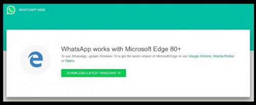 WhatsApp Web tidak berjalan di peramban lawas Microsoft Edge Legacy. (Foto: Windows Latest)